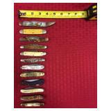 12 Pocket knives, Case XX lock back, KA-Bar Texas