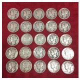 25 Silver mercury dimes