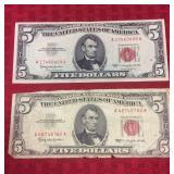 2 1963 Red Letter $5  Dollar Bill