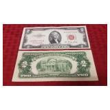 2 1953 Red Letter $2 Dollar Bill