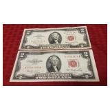 2 $2 Red Letter Dollar Bills 1953 and 1963