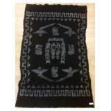 "Wool Native American rug, 75.5"" by 48"""