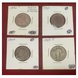 4 Silver coins: 1901, 1904 V Nickle, 1856 Seated