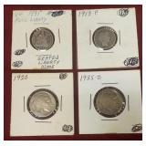 4 Silver coins: 1891 Seated Liberty dime, 1913-P