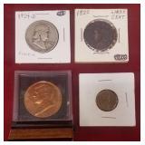 4 coins: Silver 1954-D Franklin half dollar, 1920