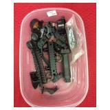 Box of Picatinny Rails and sight mounts