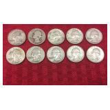 10 Silver Quarters- 1942, 1952, 1957, 1958, 1961,