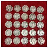 25 Mercury Dimes