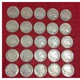 25 Buffalo nickels
