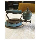 antique iron, kerosene fired, old blue color