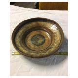 pottery plate, old redware, great colours