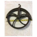 anitque large clothesline style pulley