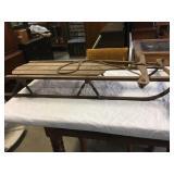 antique sleigh, metal runners,
