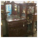 Exceptional oak sideboard, leaded glass