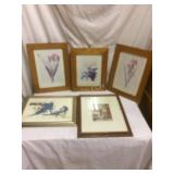 LOT, pictures in frames, floral theme