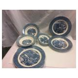 blue display dishes.