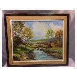 vintage painting. creek scene 25 x 21