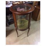 Round display table, glass shelf, inlaid designs