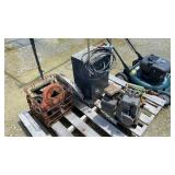 Misc Skid w/Battery Charger, 3HP Motor, & Pullies