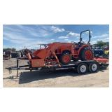 Kubota L3800 w grader box, bush hog, loader, and