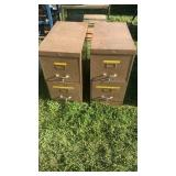 2 metal filing cabinets with misc items