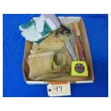 ASSORTED TOOLS AND LEATHER TOOL POUCH
