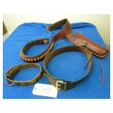 LEATHER HOLSTER AND AMMO AND OTHER