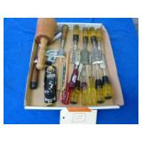 ASSORTED CHISELS AND OTHER TOOLS