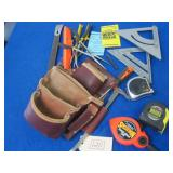 LEATHER TOOL BAG WITH ASSORTED TOOLS