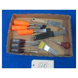 ASSORTED WOOD CHISELS AND OTHER ITEMS