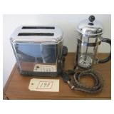 VINTAGE ART DECO TOASTER & FRENCH COFFEE PRESS
