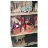 Shelf 4 right, 2 jack in box and other dolls and
