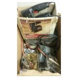 Big box of tool and hardware items, drill,
