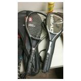Tennis lot, 5 racquets and balls