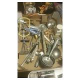 Large flat of vintage kitchenware