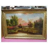 gorgeous old landscape painting - nice frame