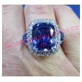 sterling 15.18ctw tanzanite & diamond ring-sz 6.75