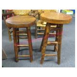 2 vintage hickory bar stools (oak tops)