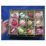 12 old Christmas decorations in box (glass)
