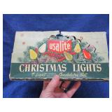 "old ""usalite Christmas lights"" set in box"