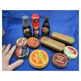 small box of shoe shine polish & 2 small brushes