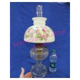 """old """"aladdin mdl-b"""" oil lamp & hand painted shade"""