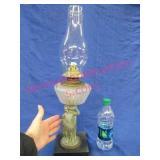 unusual figural base oil lamp & chimney