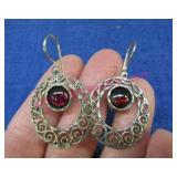 sterling silver dark red stone earrings