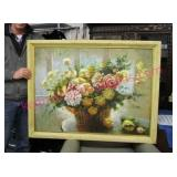 large vintage floral painting (35in x 44in)