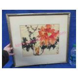 oriental watercolor painting (orange flower)