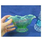 green opalescent ruffled dish - 4in tall