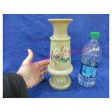 hand painted handblown vase - 10in tall