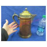 nice old copper & brass coffee pot - 10in tall