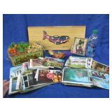 vintage postcards -plastic grapes -fish box -misc